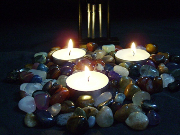photos of candles and gemstones